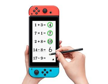 """通过手写来进行计算的""""计算25""""。纵向拿住主机,用触摸笔来输入。"""