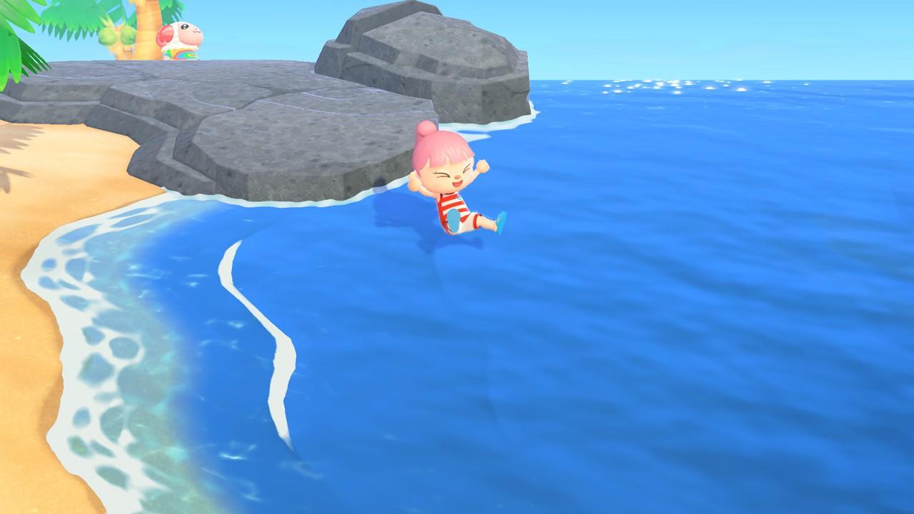 マリンスーツで海に飛び込む